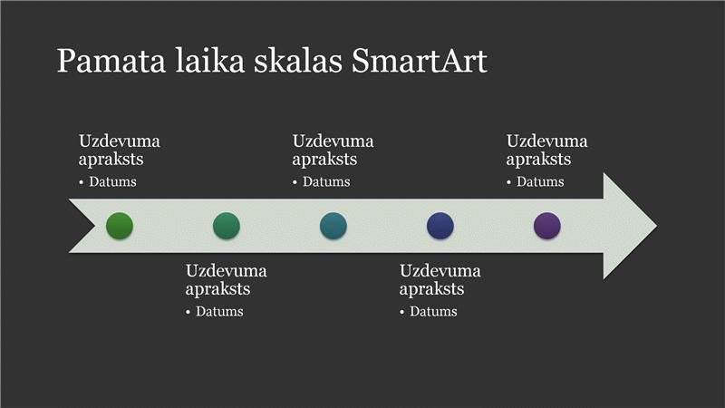 Vienkārša laika skalas SmartArt grafika (balts uz tumši pelēka fona), platekrāna