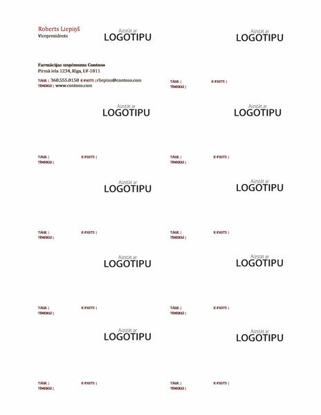 Vizītkartes, horizontāls izkārtojums ar logotipu, teksts līdzināts pa kreisi