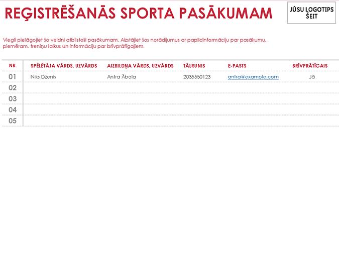 Sporta pasākumu reģistrācijas lapa
