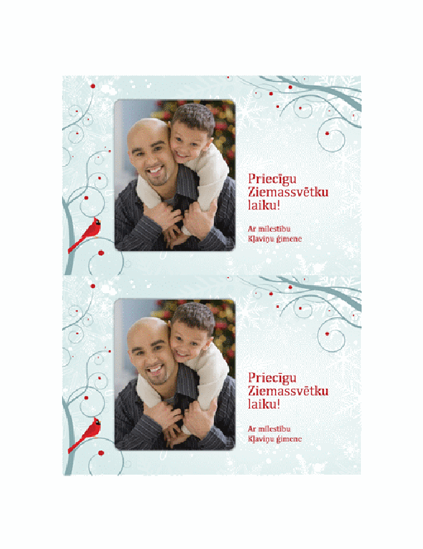 Svētku fotokartīte (noformējums ar sniegpārsliņām)