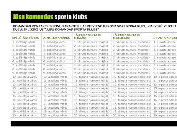 Kontaktpersonu saraksts jauniešu sporta komandai