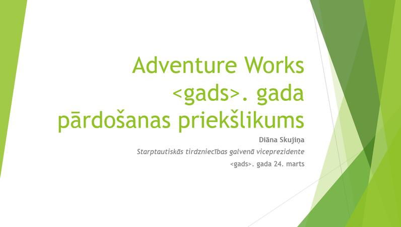 Pārdošanas stratēģijas prezentācija, fasetes noformējums (platekrāna)