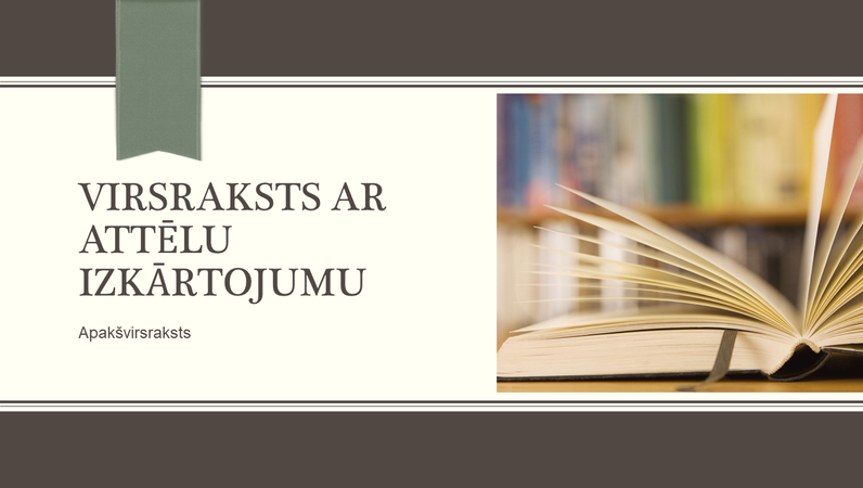 Izglītības satura prezentācija ar svītru un grāmatzīmes noformējumu (platekrāna)