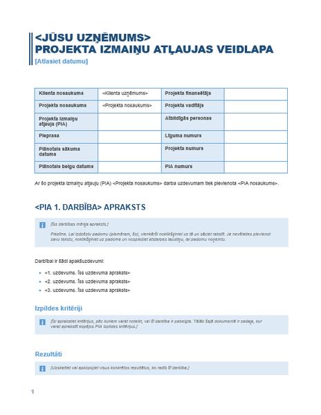 Projekta izmaiņu autorizācijas veidlapa