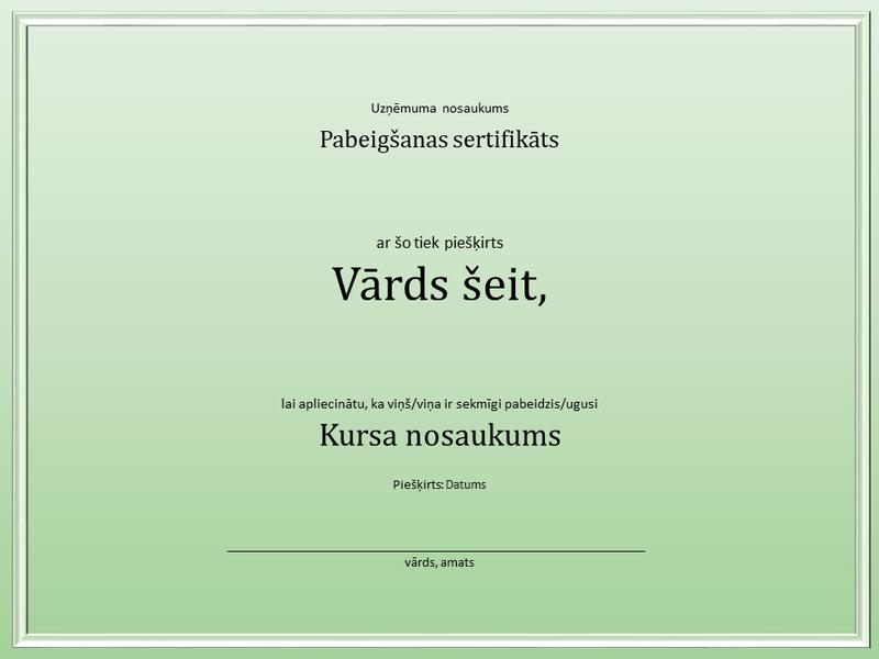 Kursa pabeigšanas sertifikāts
