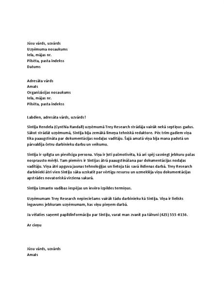 Atsauksmju vēstule par vadoša amata darbinieku