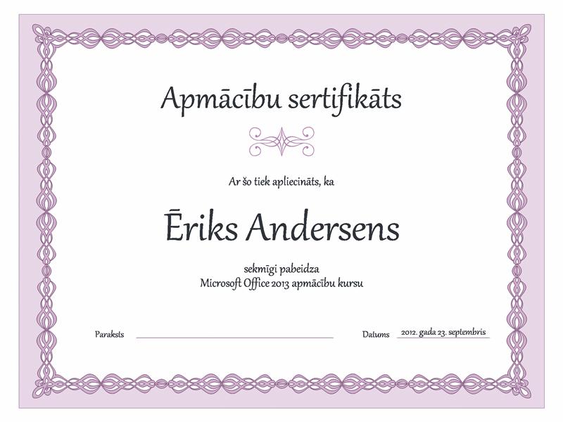Apmācības sertifikāts (purpura ķēdes noformējums)