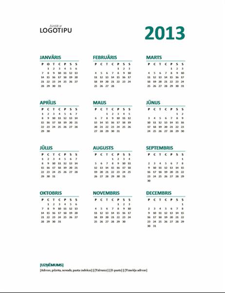 2013.gada vienas lapas kalendārs (P–S formāts)