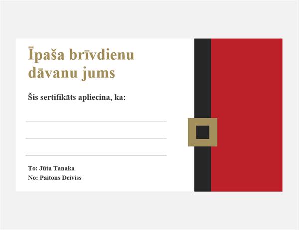 Svētku dāvanu sertifikāti (Ziemassvētku noskaņas noformējums, 3katrā lappusē)