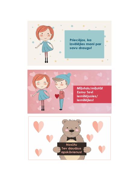 Valentīna dienas apsveikumi bērniem (12 noformējumi pa 3 vienā lappusē)