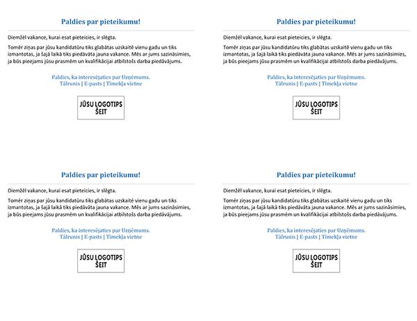 Pastkarte kandidātiem, ja vakance ir aizpildīta (četras vienā lapā)