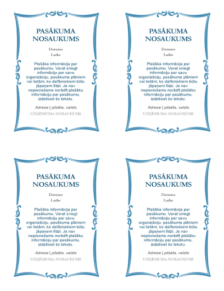 Pasākuma uzaicinājumi (4 gab. vienā lapā)