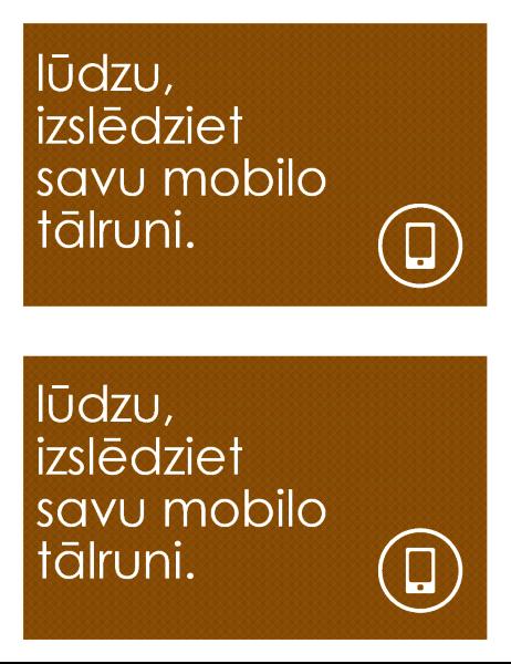 Mobilo tālruņu lietošanas aizlieguma zīme (divas katrā lappusē)