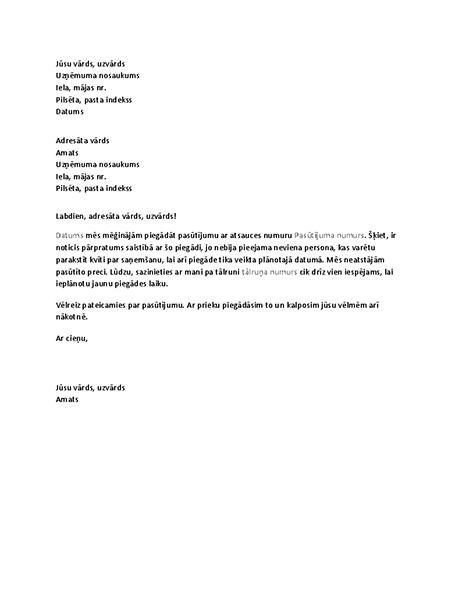 Vēstule klientam par garām palaistu piegādi