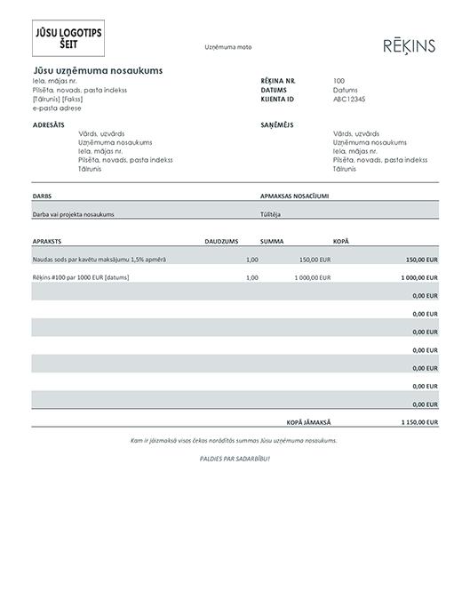 Rēķins ar paredzētu soda naudu (pelēks)