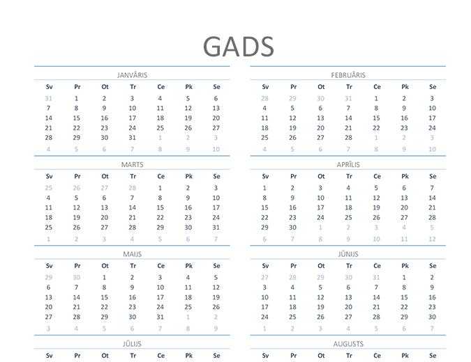 Kalendārs jebkuram gadam (no pirmdienas līdz svētdienai)