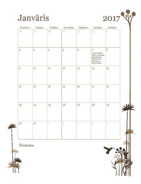 2017.gada fotoattēlu kalendārs (no pirmdienas līdz svētdienai)