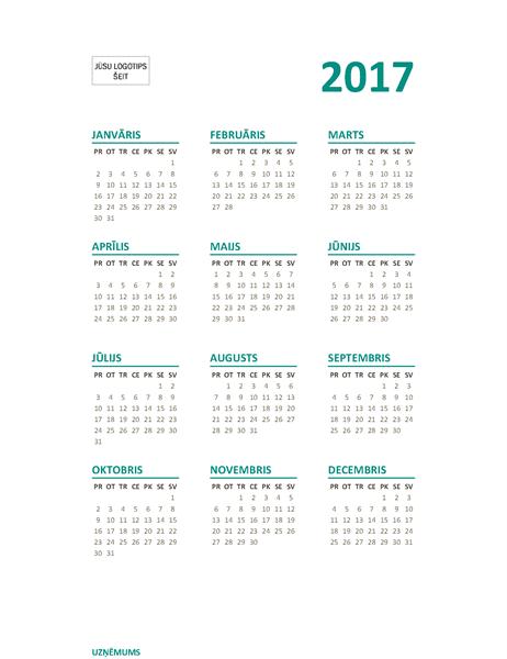 Visa gada kalendārs 2017.gadam (no pirmdienas līdz svētdienai)
