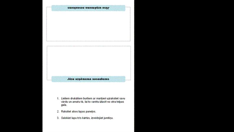 Vārdu kartītes sapulcei (salokāmas trīs daļās)
