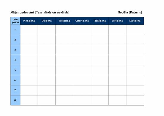 Iknedēļas mājas darbu grafiks