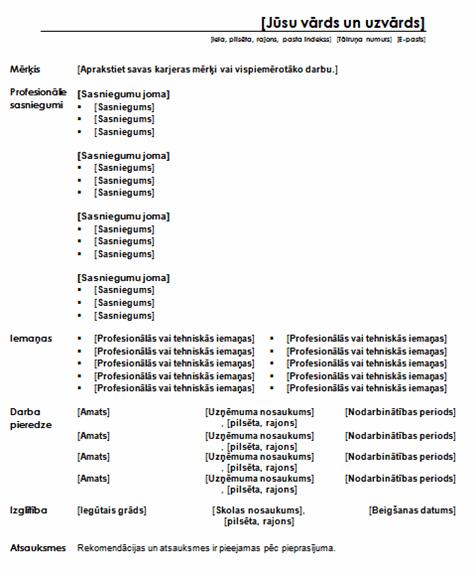 cv un motiv u0101cijas v u0113stules