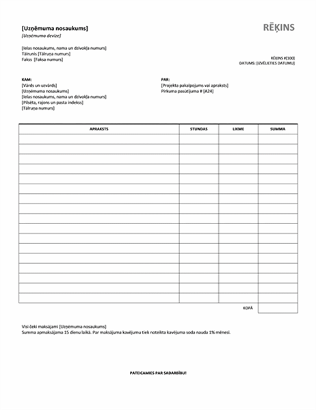 Services invoice with hours and rate