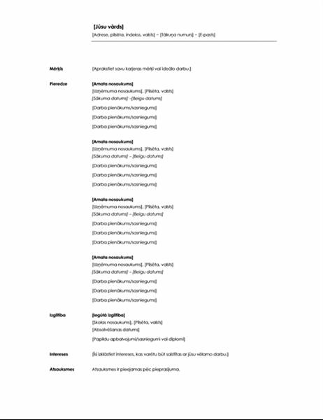 """Hronoloģisks CV (motīvs """"Minimālists"""")"""