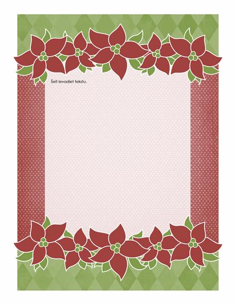 Svētku vēstuļpapīrs (noformējums ar puansetiju)