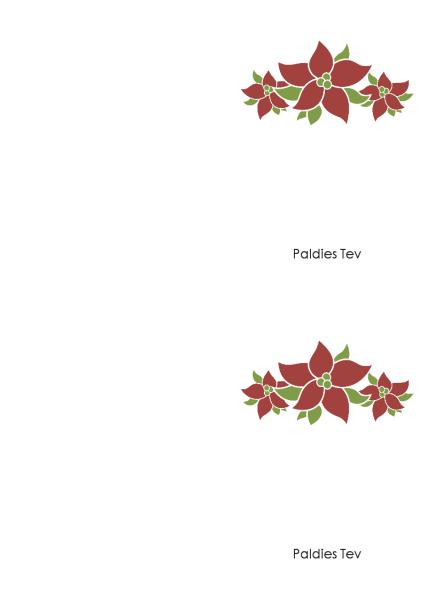 Pateicības kartīte (puansetijas dizains)