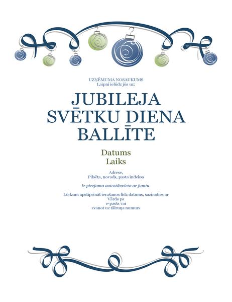 Svētku balles skrejlapa ar rotājumiem un zilu lenti (formāls dizains)