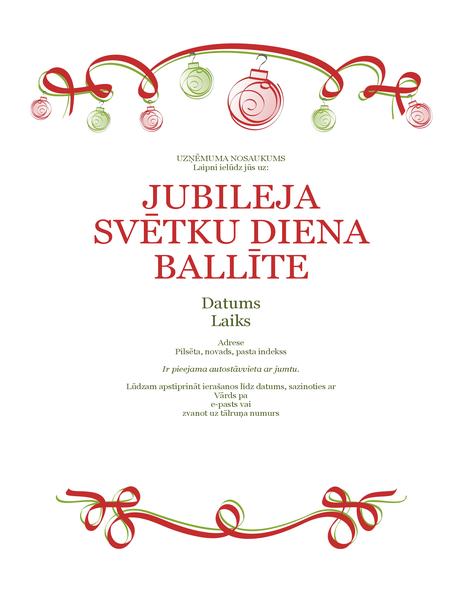 Ielūgums uz svētku balli ar rotājumiem un sarkanu lenti (formāls dizains)