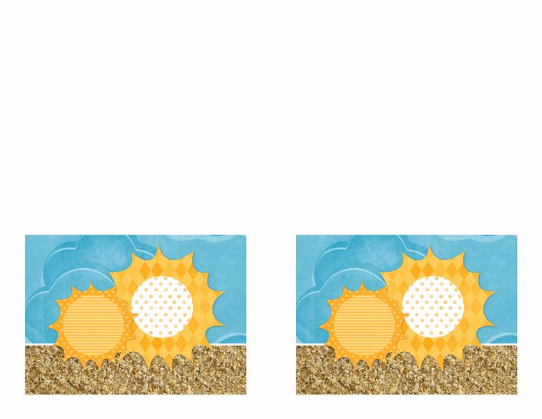 Ielūgums (saules un smilšu noformējums)