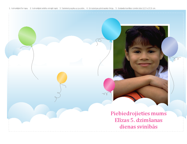 Uzaicinājums uz foto ballīti (balonu dizains, daļēji ielocīta)
