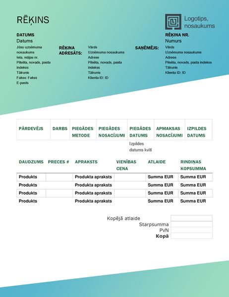 Pārdošanas rēķins (zaļa gradienta noformējums)