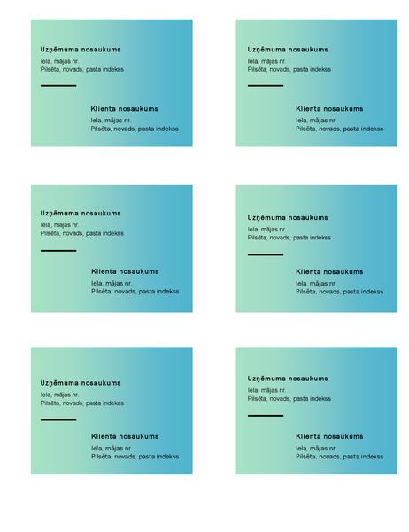 Transportēšanas uzlīmes (zaļa gradienta noformējums, 6uzlīmes lappusē, piemērotas papīram Avery5164)