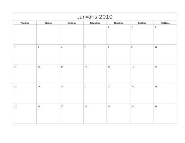 2010. gada kalendārs (pamata noformējums, pirmd.–svētd.)