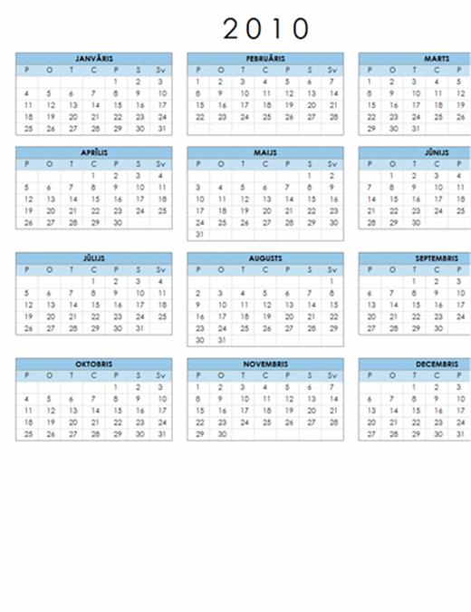 2010. gada kalendārs (1 lapa, ainava, pirmdiena – svētdiena)