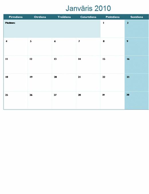 2010. gada kalendārs vairākās darblapās (12 lpp., pirmdiena – svētdiena)