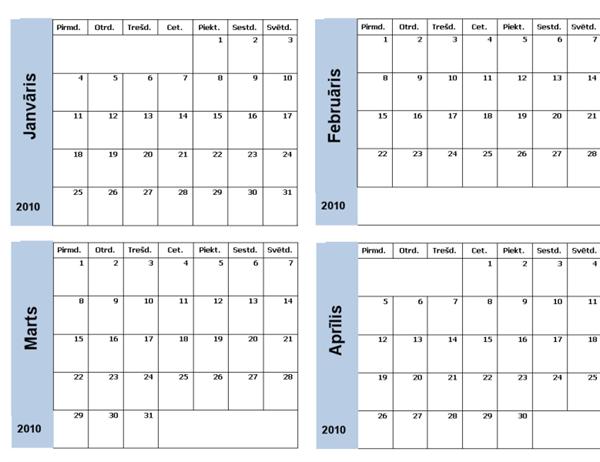 2010. gada kalendārs ar zilu apmali (3 lpp., pirmd.–svētd.)