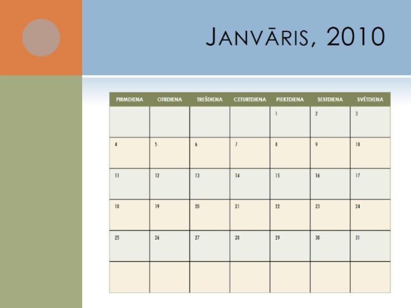 2010.gada kalendārs (pirmd.–svētd.)