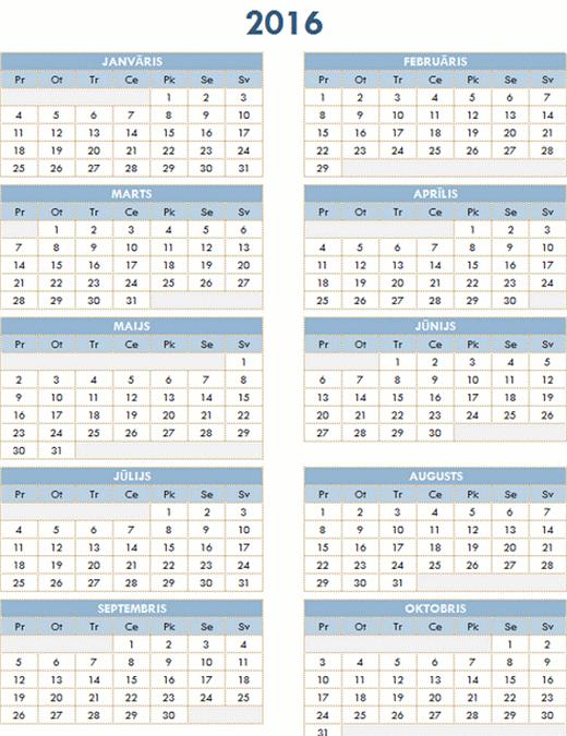 2016.–2025.gada kalendārs