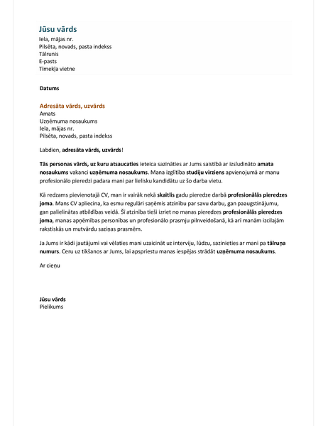 Motivācijas vēstule funkcionālam CV