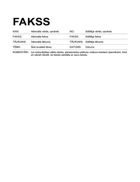 Faksa pavadvēstule (standarta formāts)