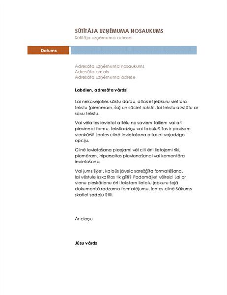 Darījumu vēstule (mediānas dizains)
