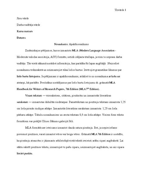 MLA stila dokuments