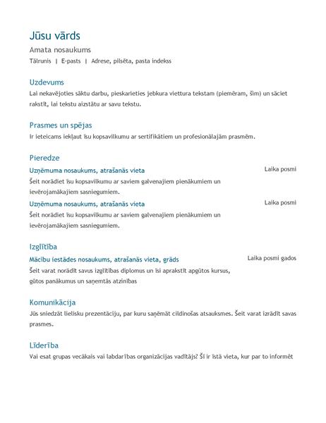 CV (hronoloģiskā secībā)