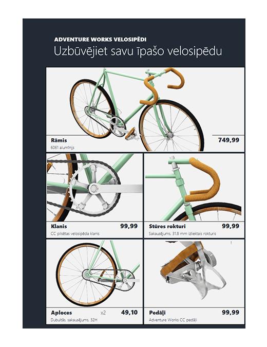 3D Excel produktu katalogs (velosipēda modelis)
