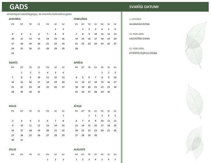 Darba kalendārs (jebkuram gadam, S-Sv)
