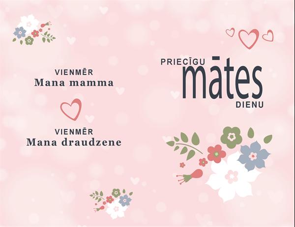 Jauka rozā Mātes dienas kartīte