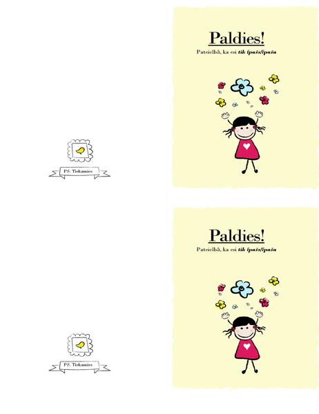Pateicības kartīte ar mazu meitenīti